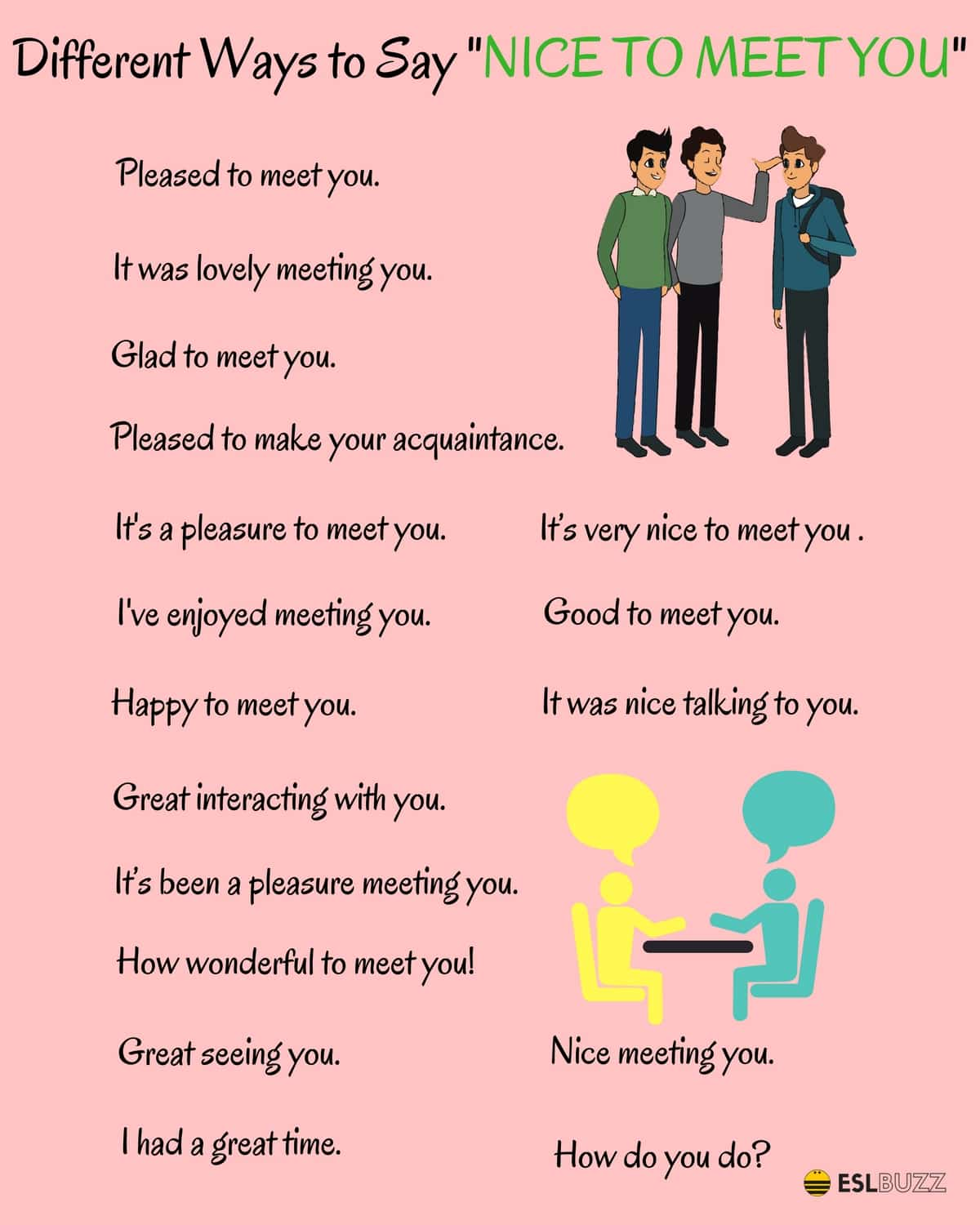 20+ Different Ways to Say NICE TO MEET YOU - ESL Buzz