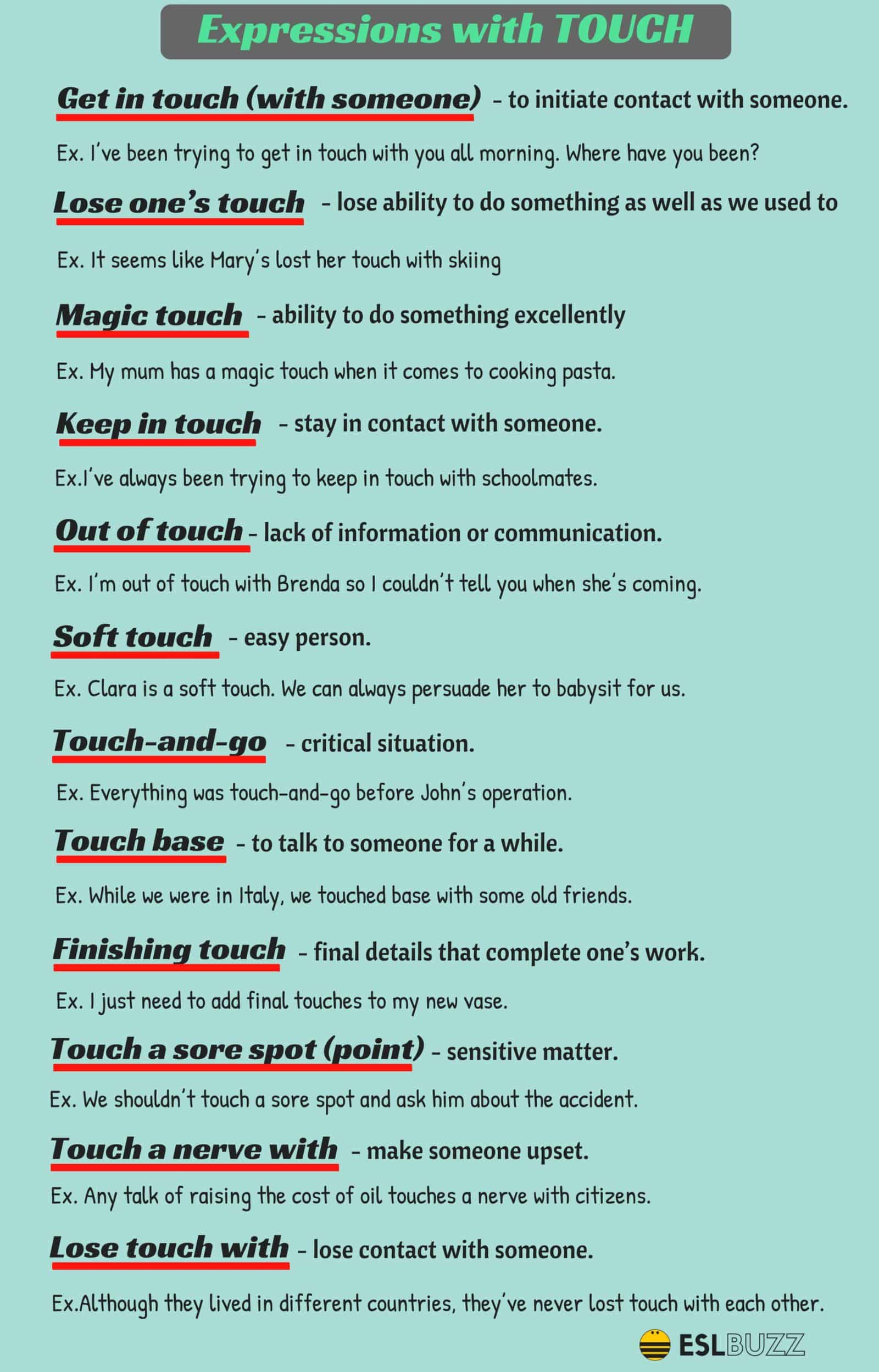 Common Expressions With The Word Touch In English