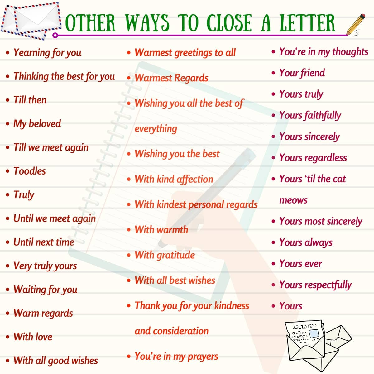 How To End A Letter In English Friend