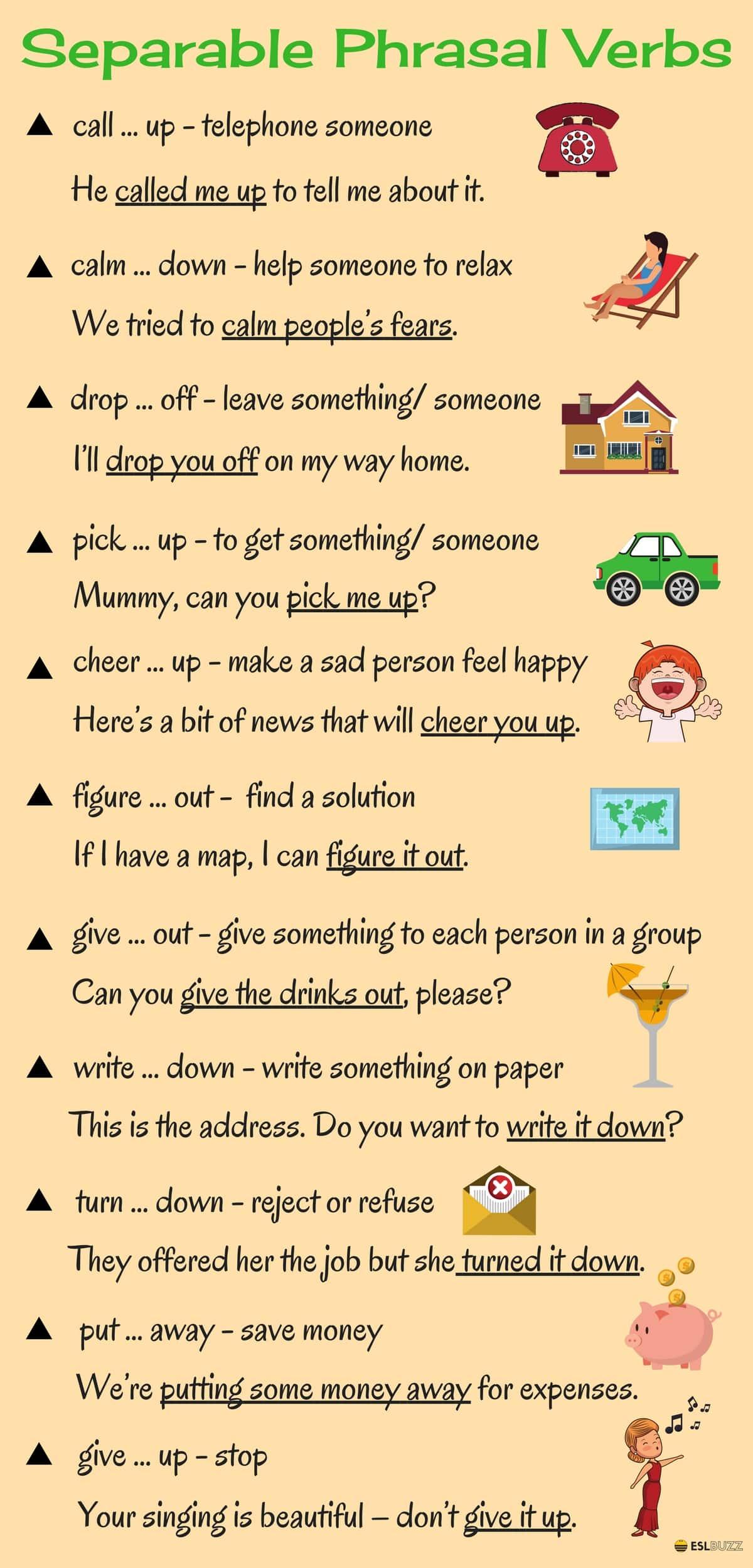 Learn 20 Separable Phrasal Verbs In English