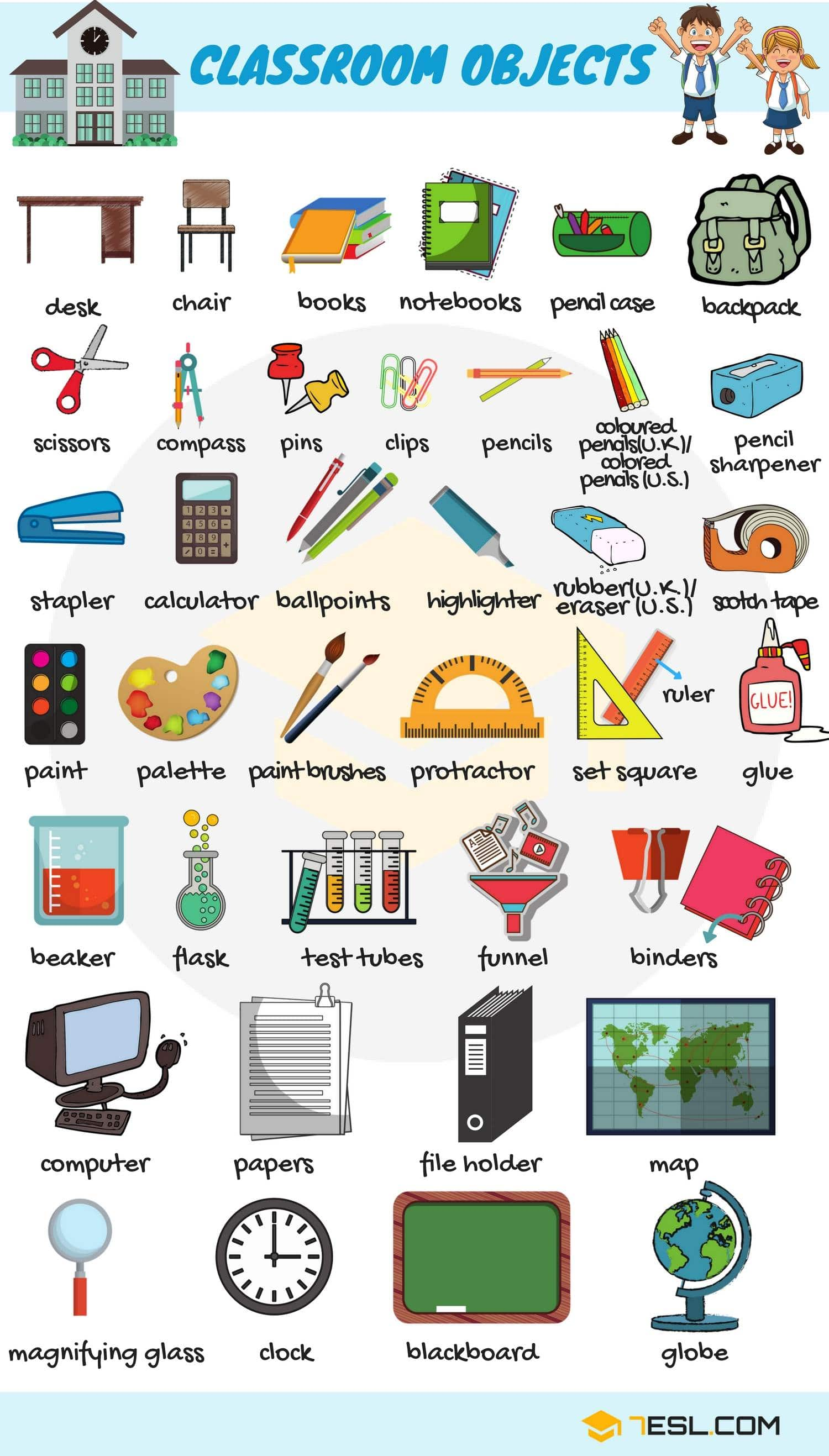 Classroom Objects In English