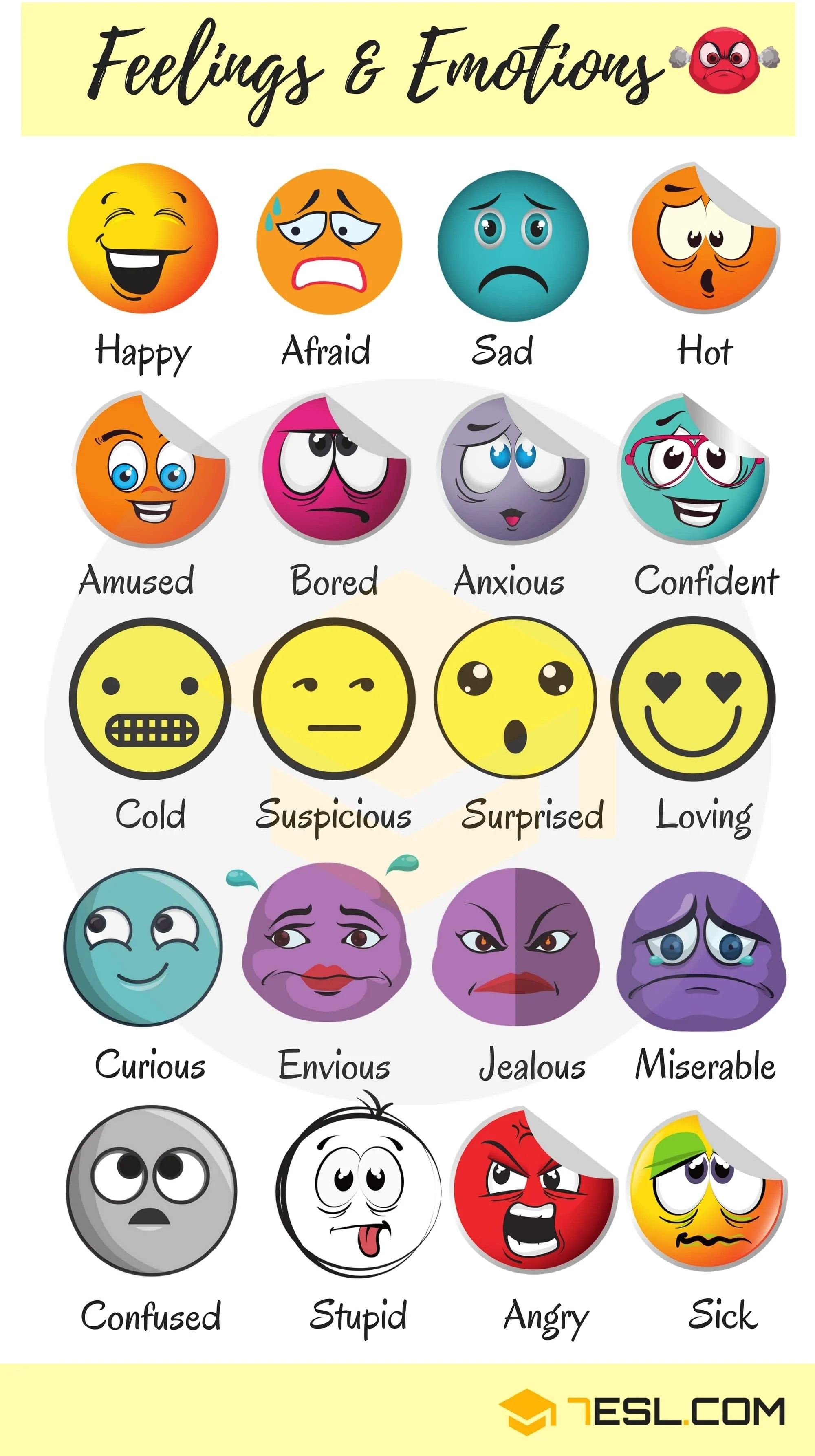 List Of Useful Adjectives To Describe Feelings And Emotions