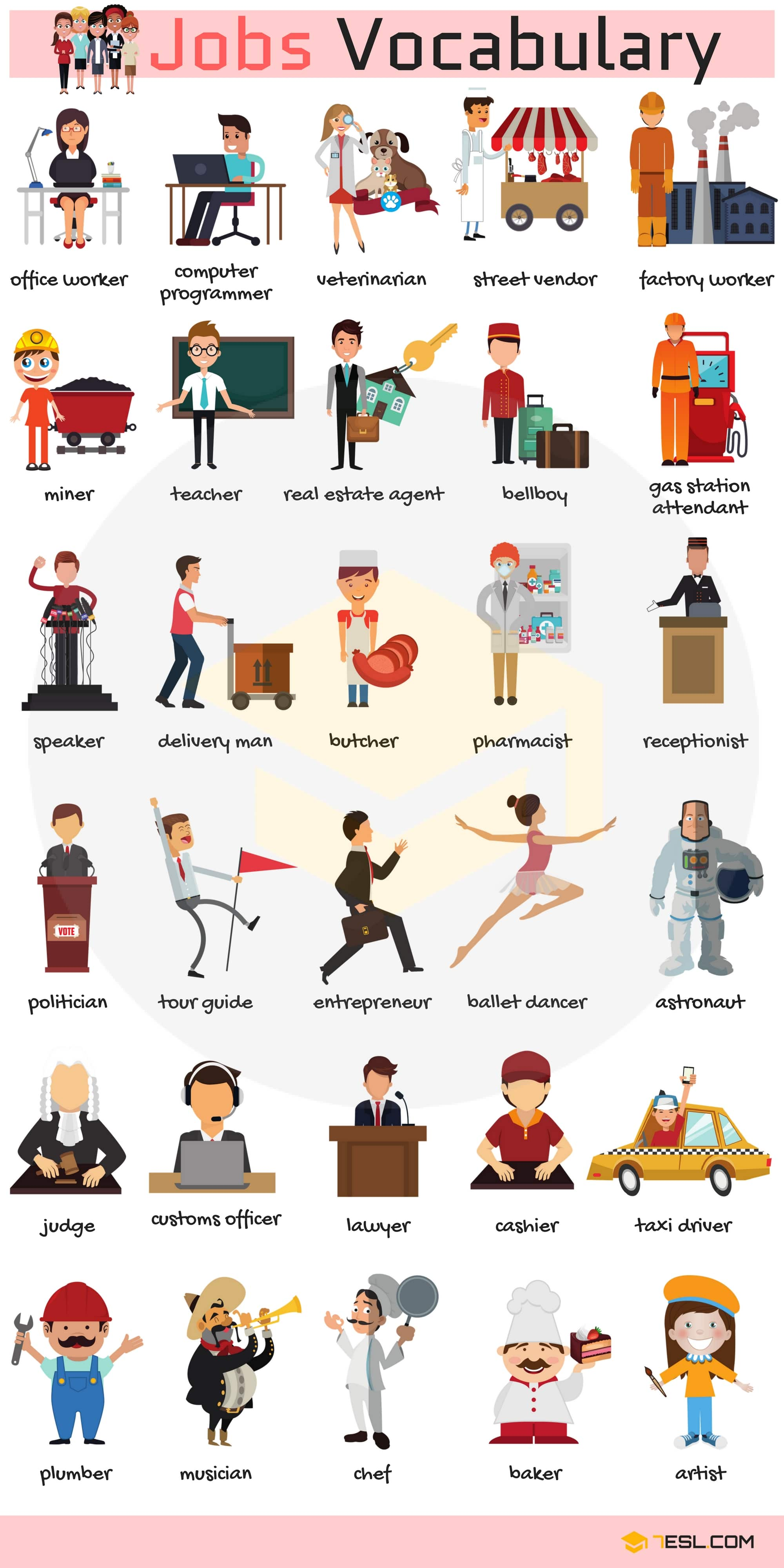 Learn Jobs And Occupations Vocabulary Through Pictures