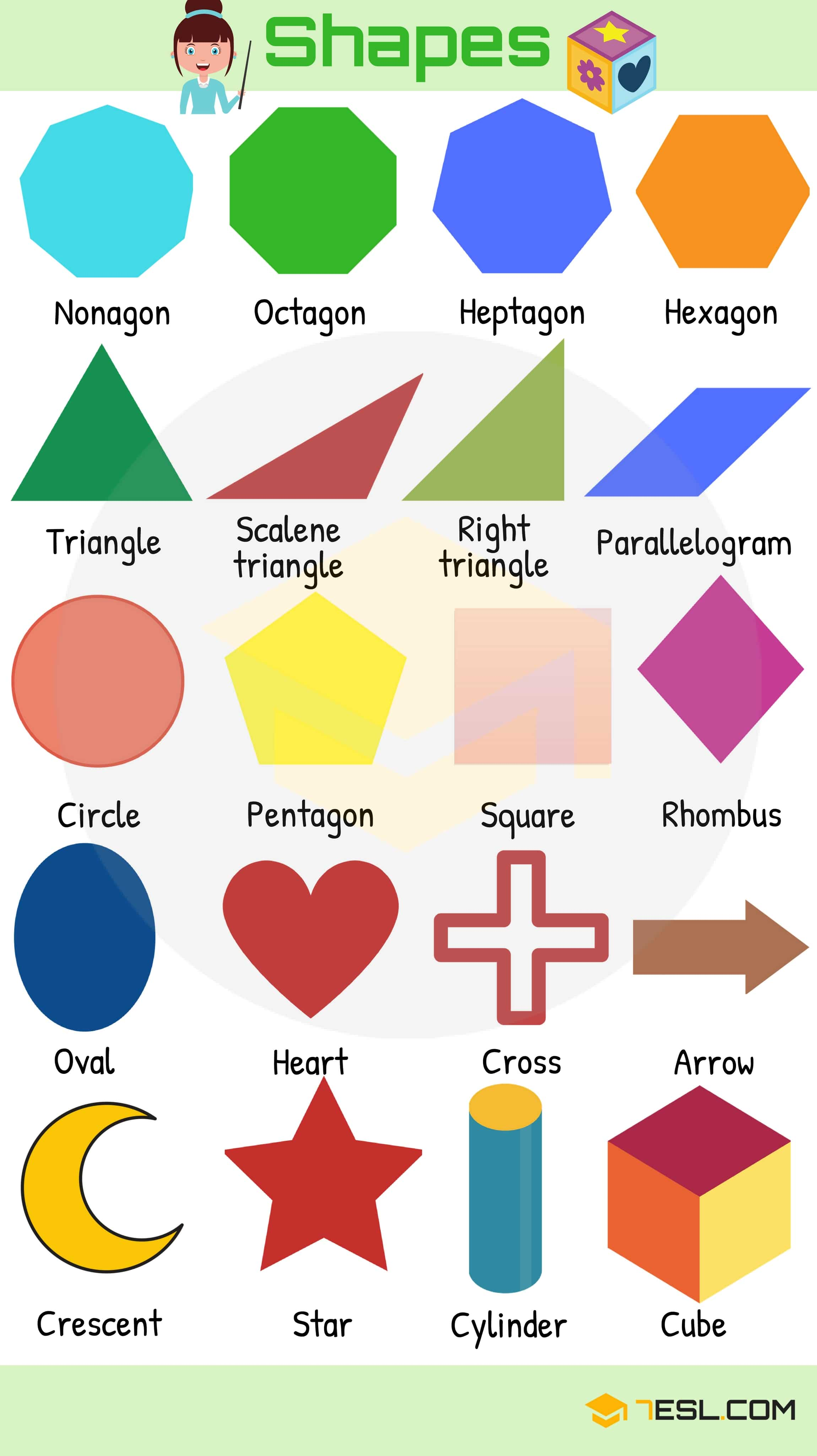 Shapes And Colors Vocabulary In English