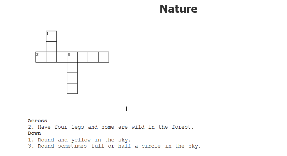 Brief in nature crossword