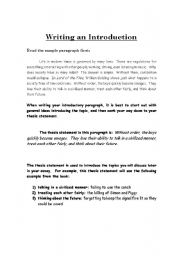 English Worksheets Writing An Introduction To A 5