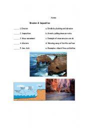 English Worksheets Erosion And Deposition Vocabulary