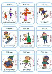 Winter Activities Card Game