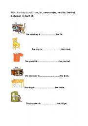 English Worksheets Prepositions
