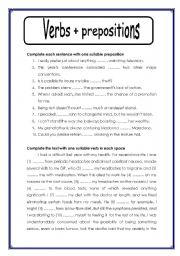 Verbs Prepositions Exercises