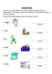 English Worksheets Synonyms Worksheet
