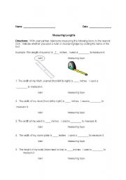 English Worksheets Tape Measures And Rulers