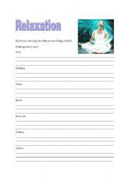 English Worksheets Relaxation Worksheet