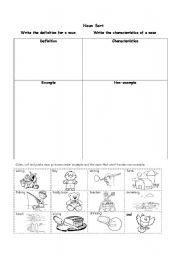 English Worksheets Noun Sort