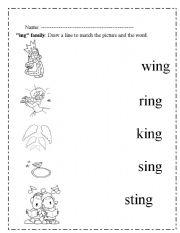 English Worksheets Ing Words