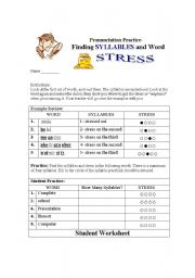 Word Stress Worksheets