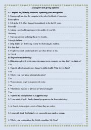 Expressing Opinions Worksheets