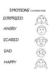 Emotions & Feelings Coloring Page - ESL worksheet by ... | feelings coloring pages for kindergarten