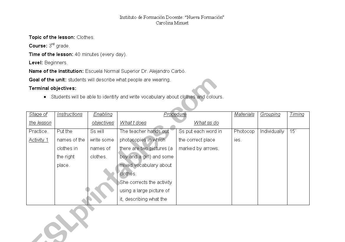 Printable Teacher Worksheet Lesson Plans