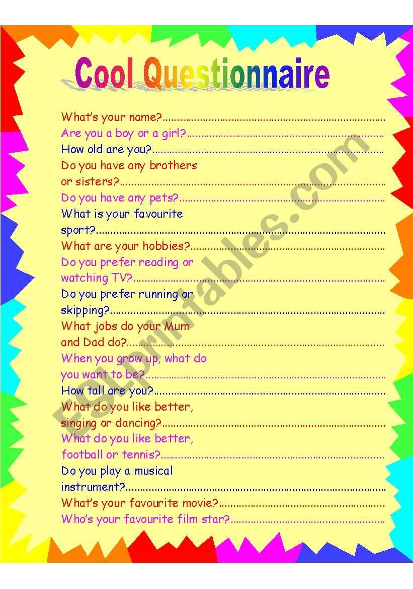 Cool Questionnaire