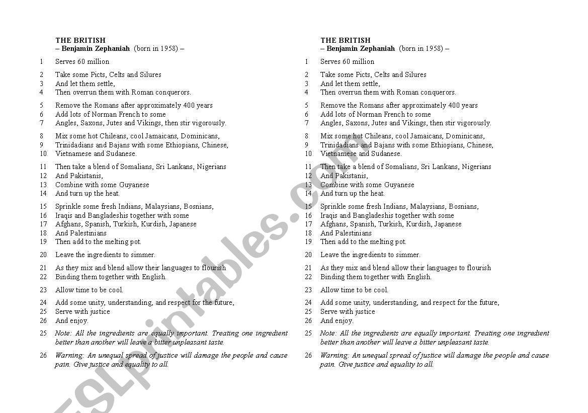 Poem The British By Benjamin Zephaniah