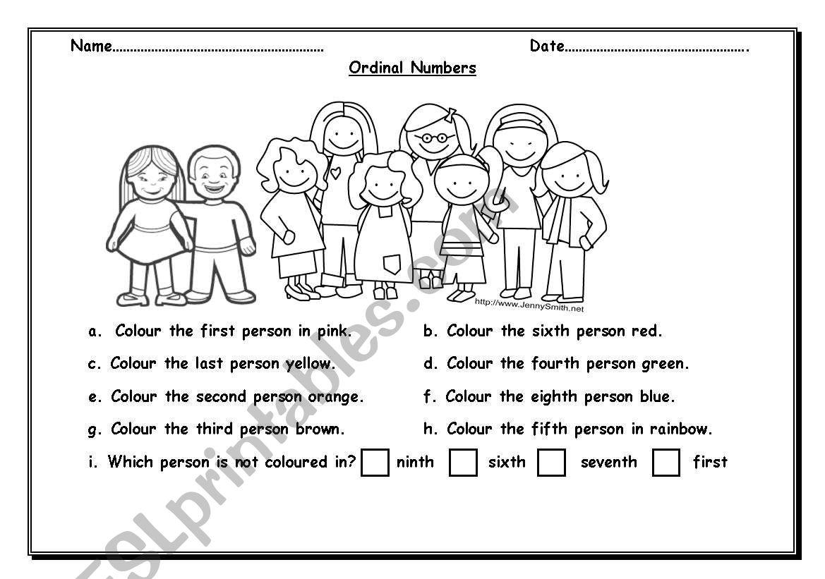 People Ordinal Worksheet