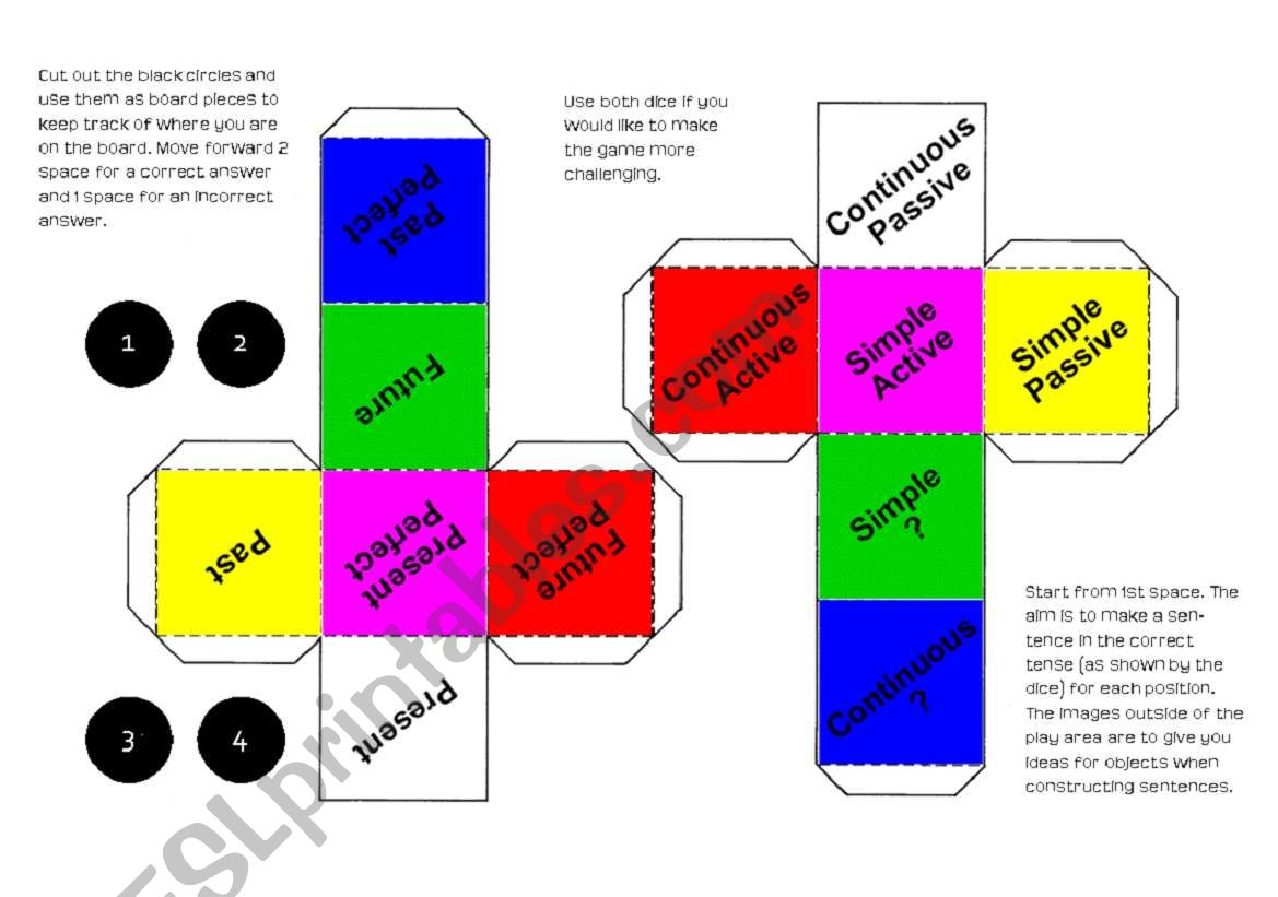 Verb Tenses Board Game