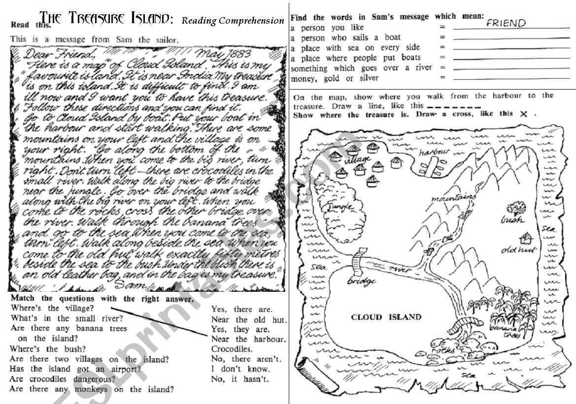 English Worksheets The Treasure Island Reading Comprehension