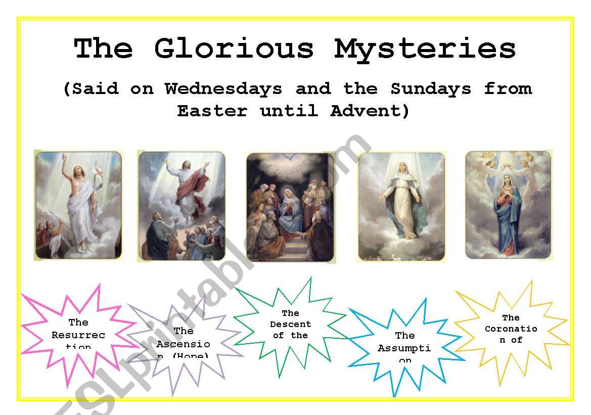 English Worksheets The Rosary Glorious Mysteries