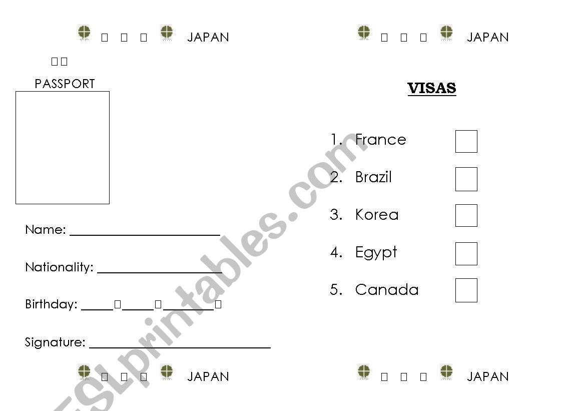 English Worksheets Make A Passport Japanese Passport