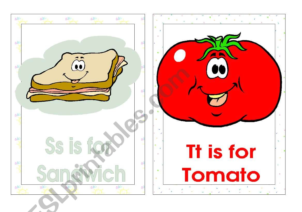 Alphabet Flash Cards S V