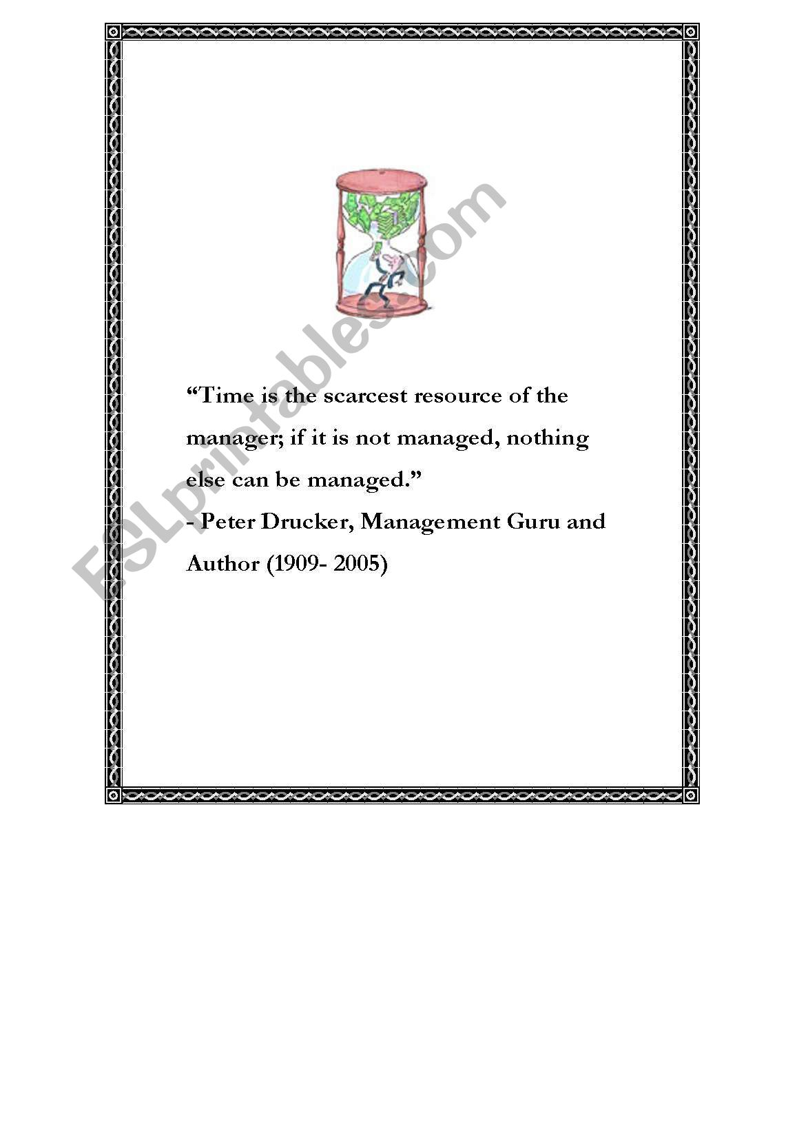 English Worksheets Time Management Posters