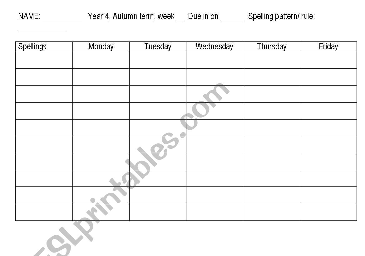 English Worksheets Spelling Grid