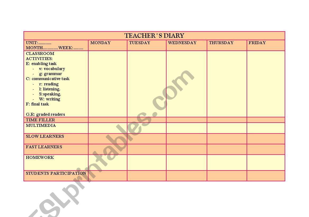 Teacher S Diary