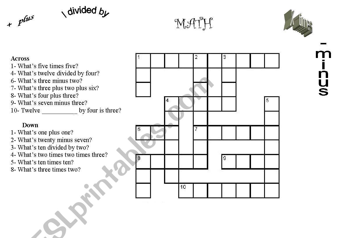 English Worksheets Crosswords Math Counting