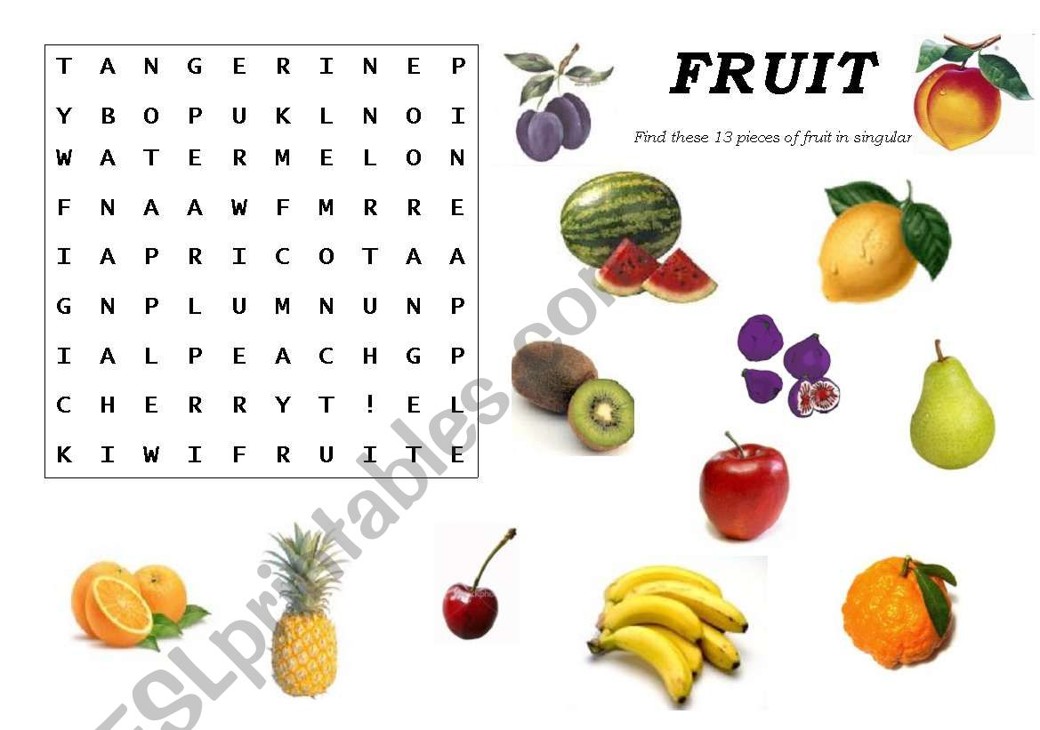 Fruit Crossword