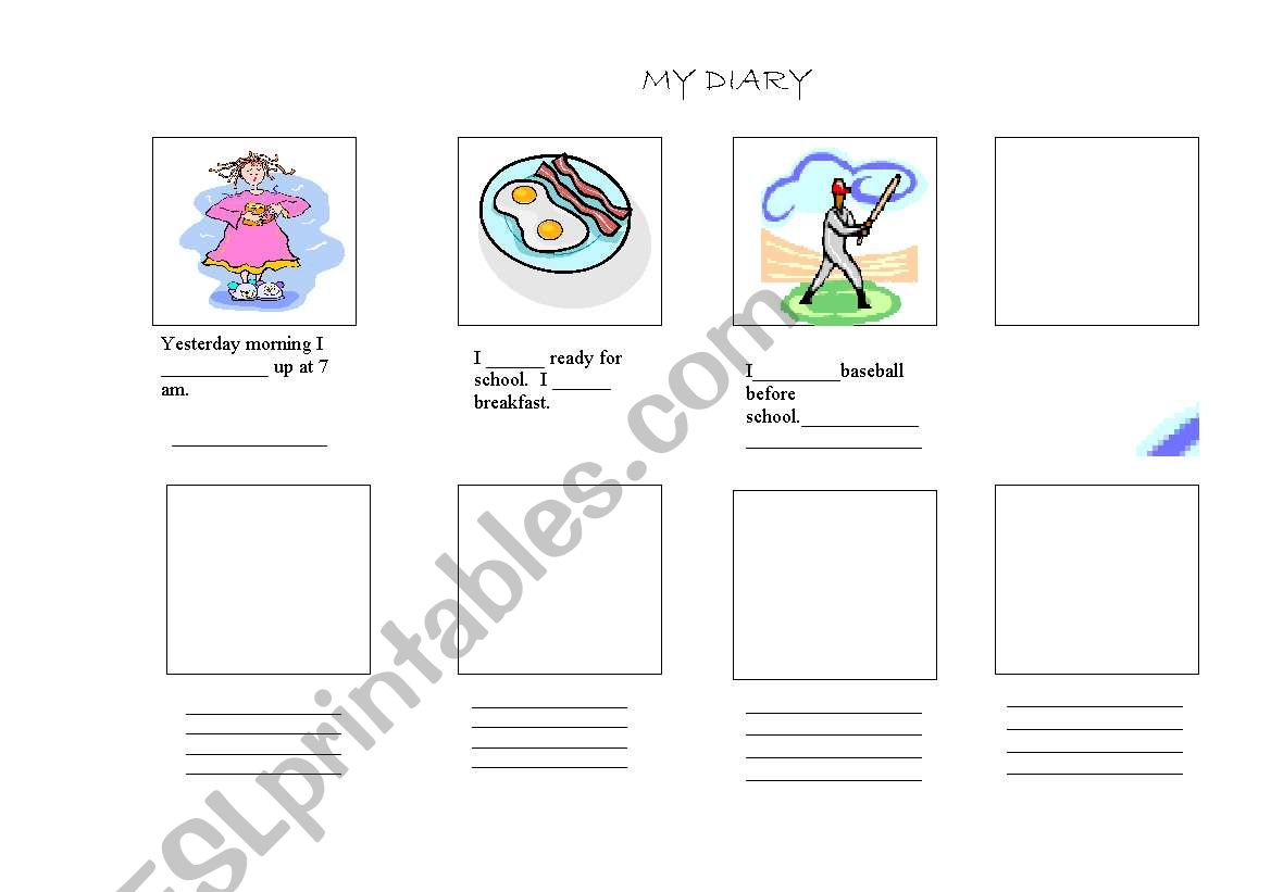 English Worksheets Diary Entry