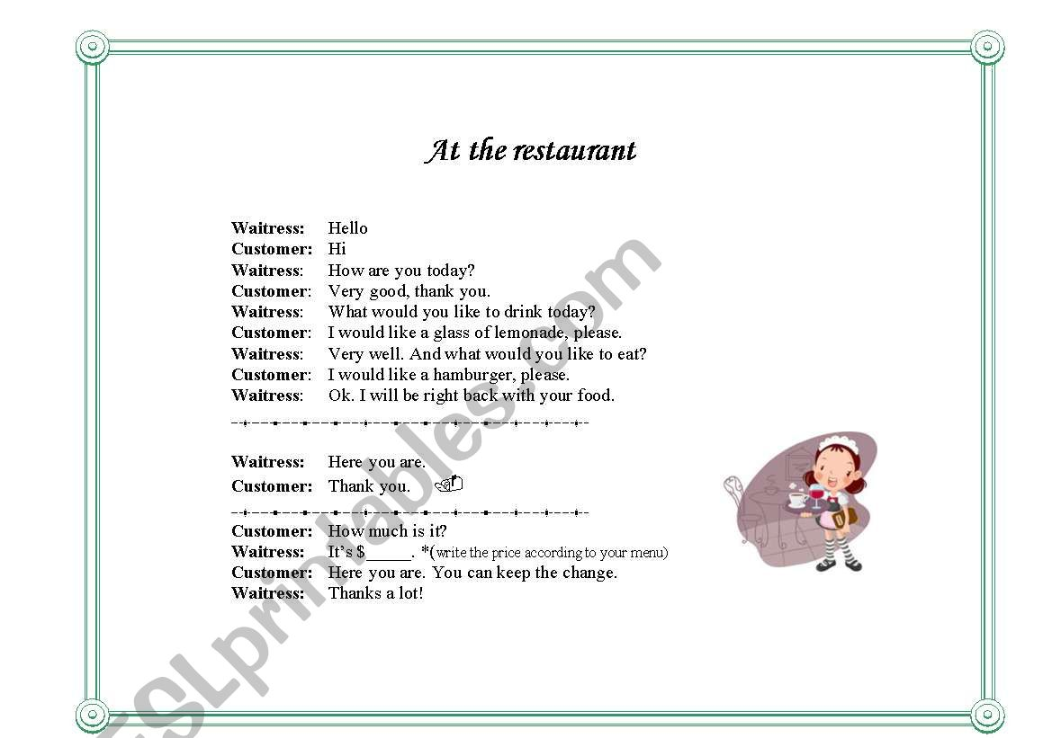 Make Your Own Restaurant Menu