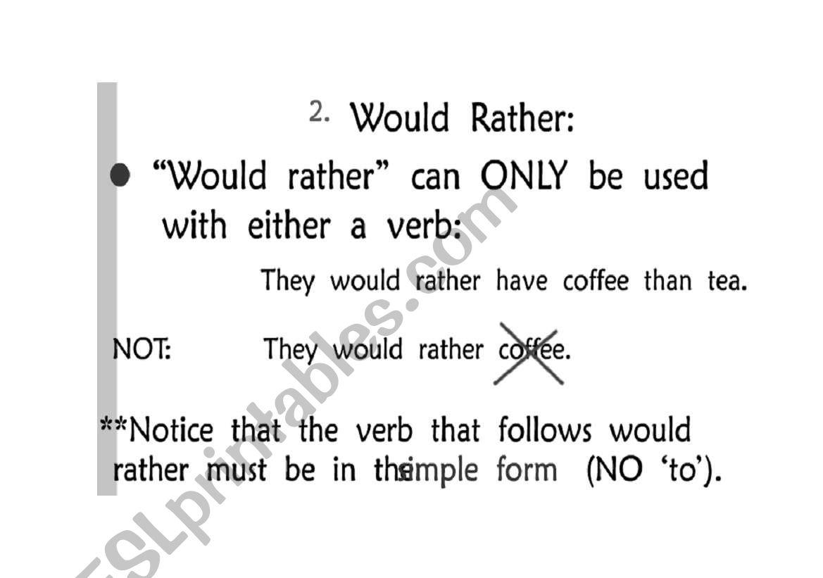 English Worksheets Rather Prefer Grammar