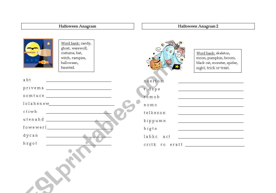 English Worksheets Halloween Anagrams