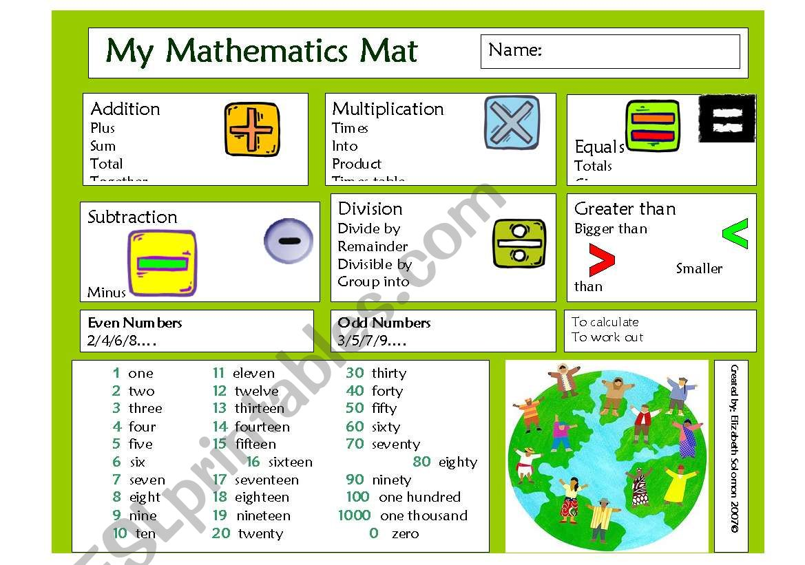 Basic Maths Vocan Placemat
