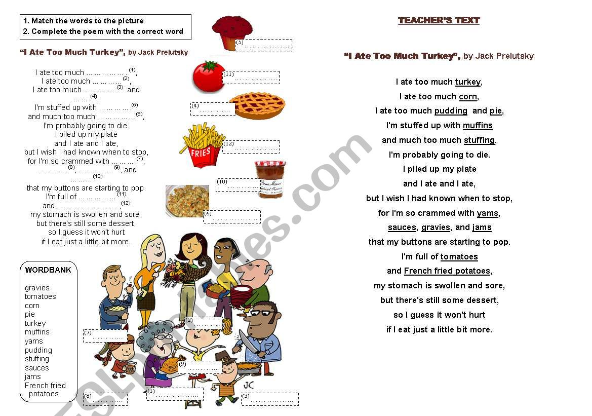Thanksgiving Poem I Ate Too Much Turkey
