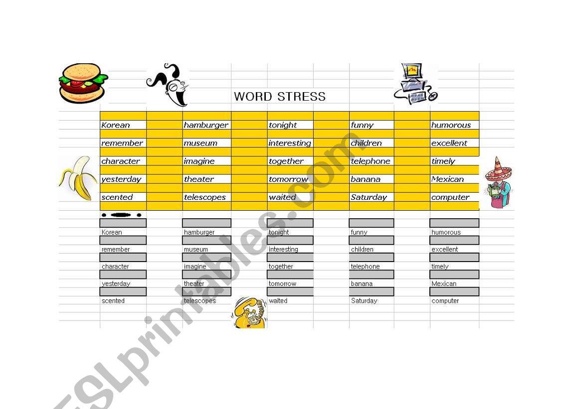 Word Stress Intonation Worksheet