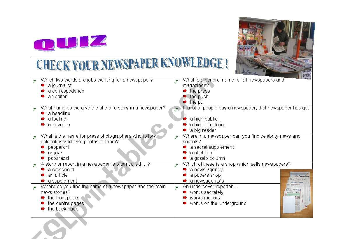 Quiz On Newspapers