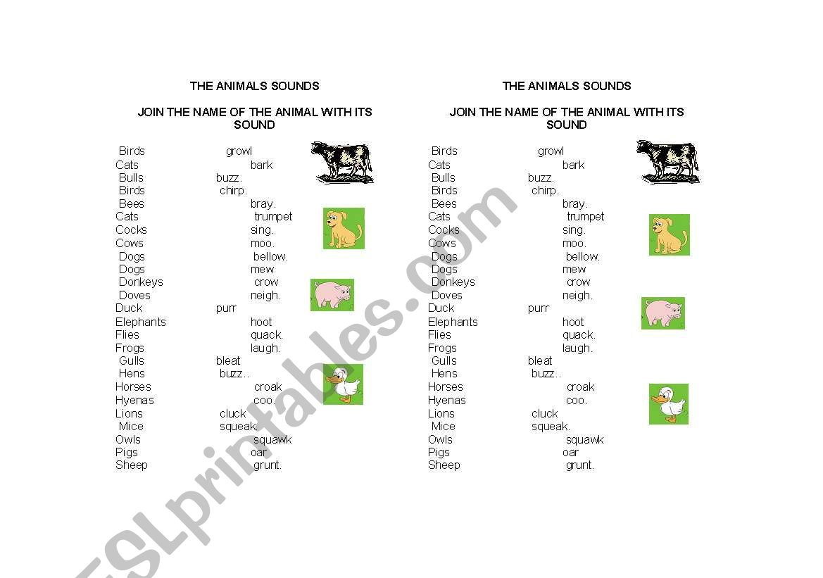 English Worksheets The Animals Sounds