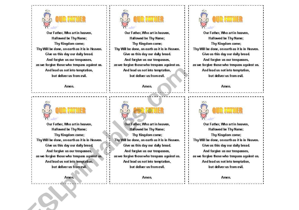 English Worksheets Our Father Prayer