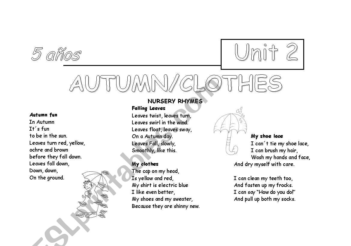 English Worksheets Nursery Rhymes For Autumn And Clothes