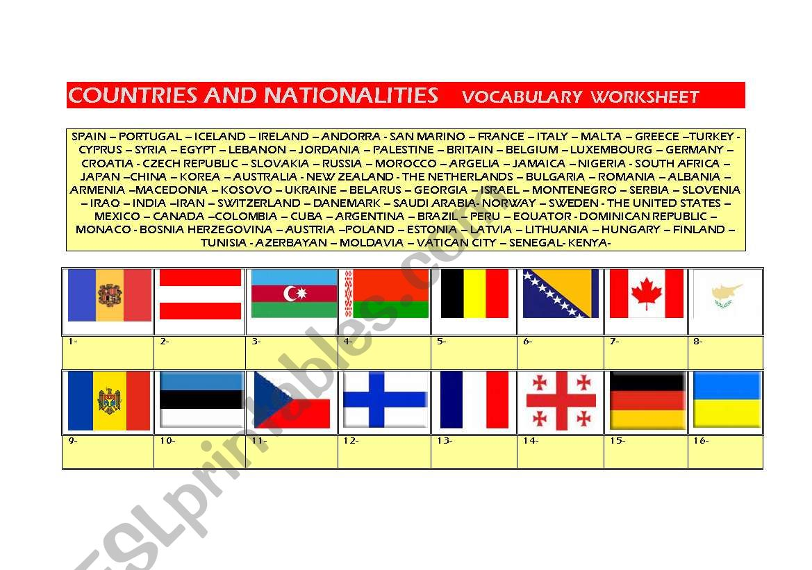 Countries And Nationalities Flags Worksheet Part 1