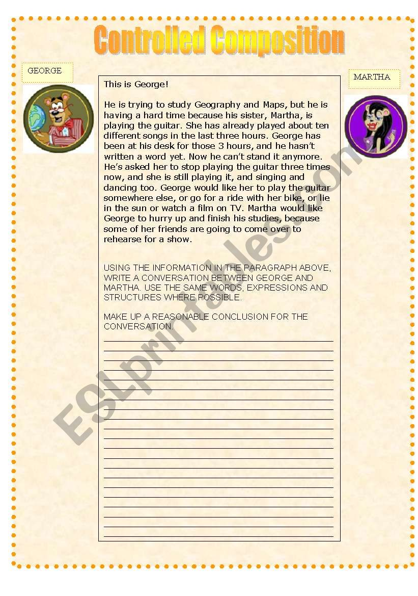 English Worksheets Guided Composition