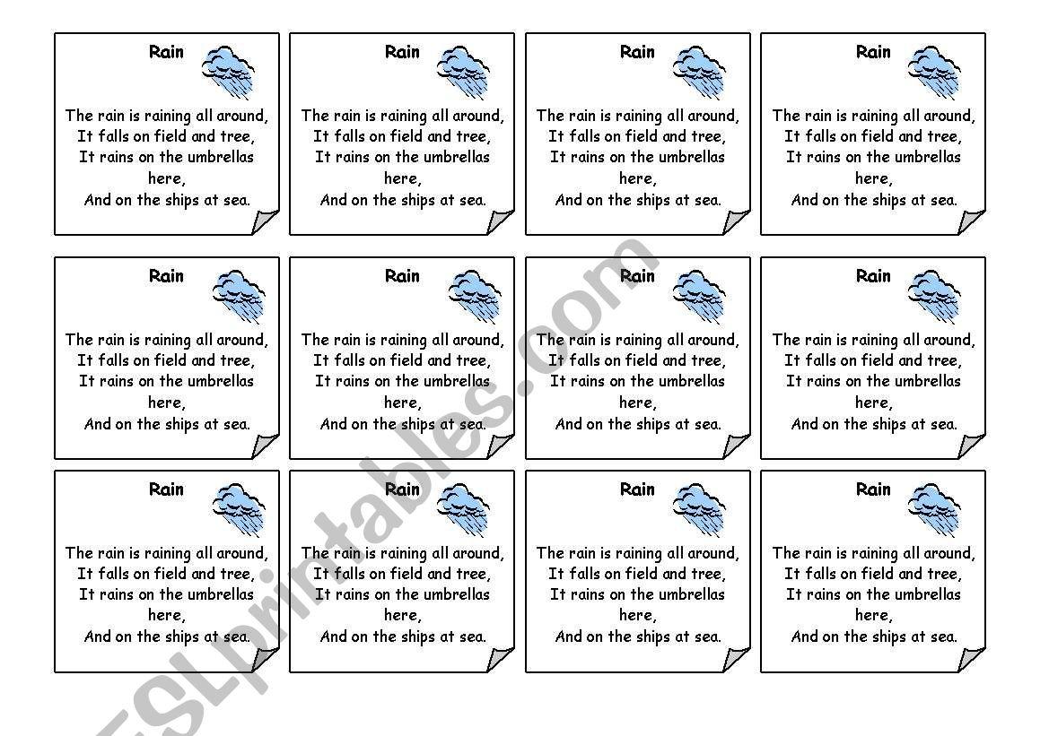 English Worksheets Rain Poem
